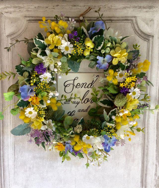 春の庭から〜ミモザとラベンダーのwreath | ハンドメイドマーケット minne