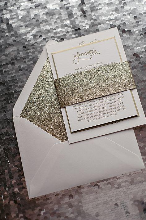 Gold Glitter wedding invitation, typography wedding invitation, letterpress wedding invitation