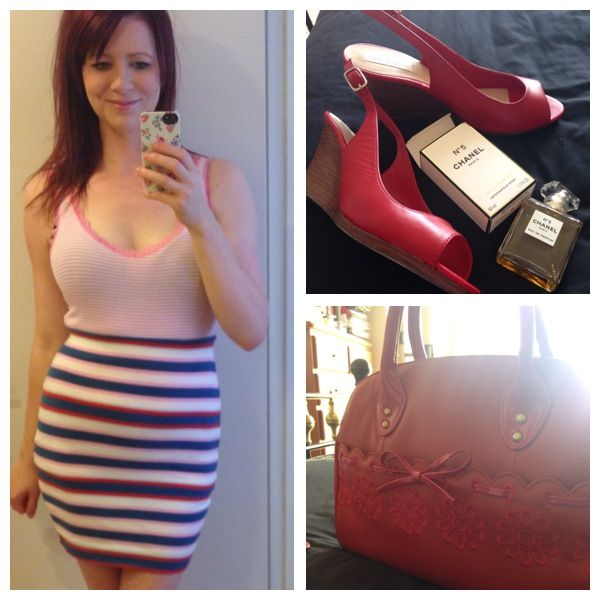 25/9/13 FCUK skirt, basic cami, ever present  Alannah Hill bowler, Diana Ferrari platforms pulled out of back of wardrobe, and Chanel no.5 Owning being curvy today. Eek!