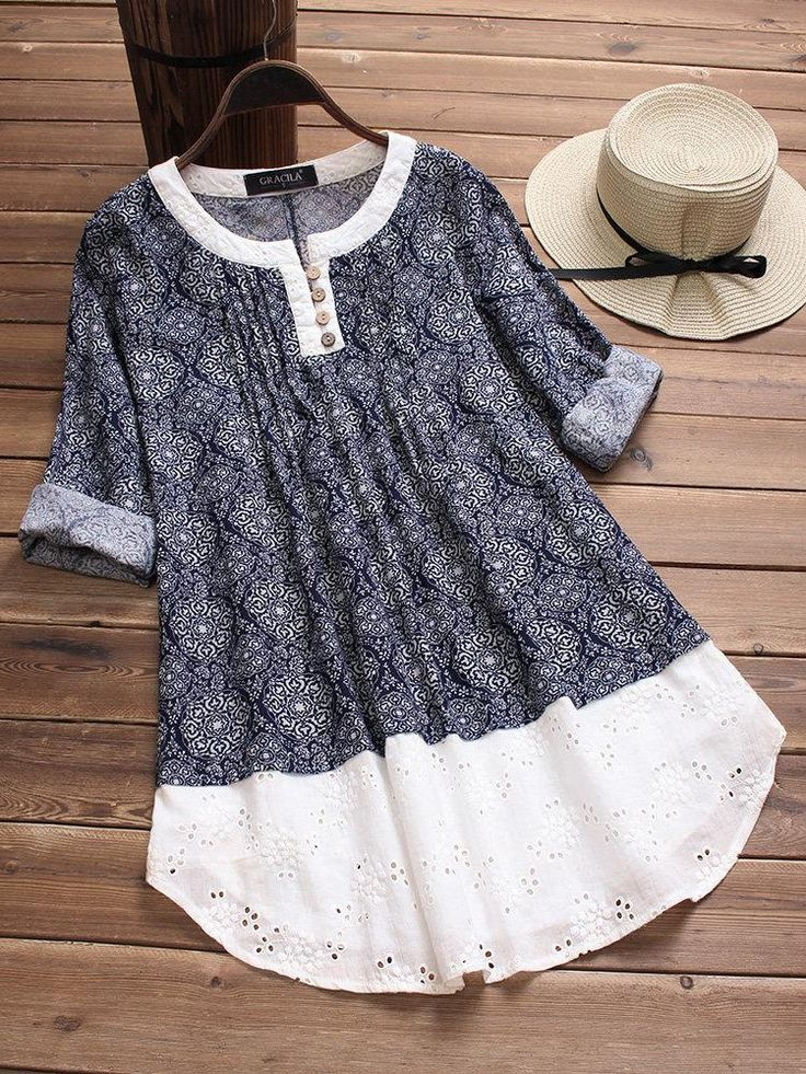 Embroidery Hollow Print Patchwork Blouses
