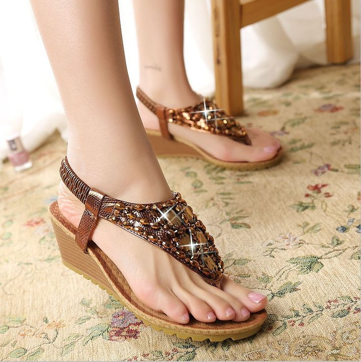 Fashion New  2016 Women Summer Shoes Sexy Rhinestone Ladies Sandals New Brand Leather Womans Flip Flops Tacones ALN002-inWomen's Sandals from Shoes on Aliexpress.com | Alibaba Group