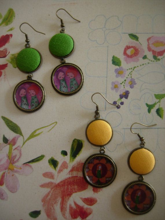 The Garden art illustrated fabric earrings collection by eltsamp, $28.00