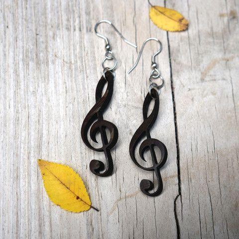 Music Dangle Earrings. Coconut Earrings.
