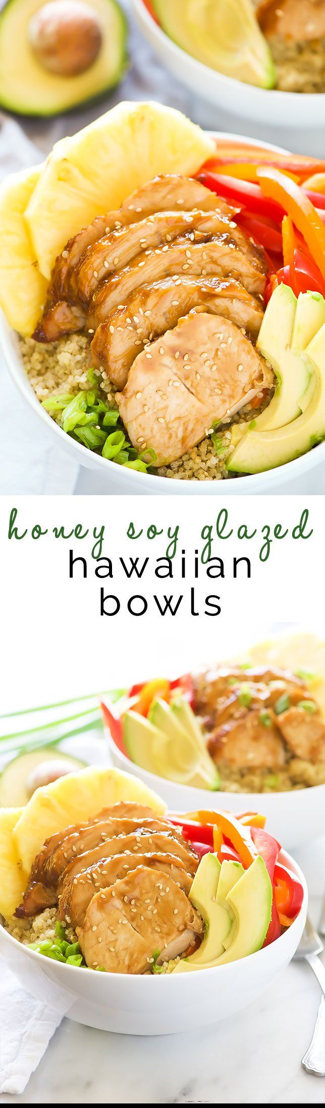 Honey Soy Glazed Hawaiian Bowls pack a serious flavor punch! Honey soy glazed turkey tenderloins are baked then added to a bowl filled with rice, juicy pineapple, peppers, onions, and avocados. This one dish wonder is perfect for any weeknight dinner!