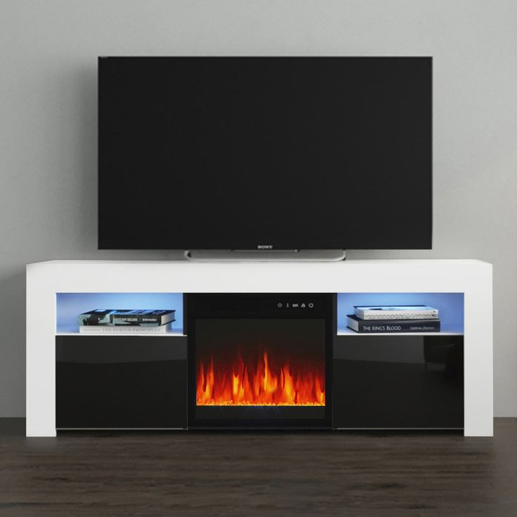 Milano 145ef White Black Tv Stand In 2020 Electric Fireplace Tv