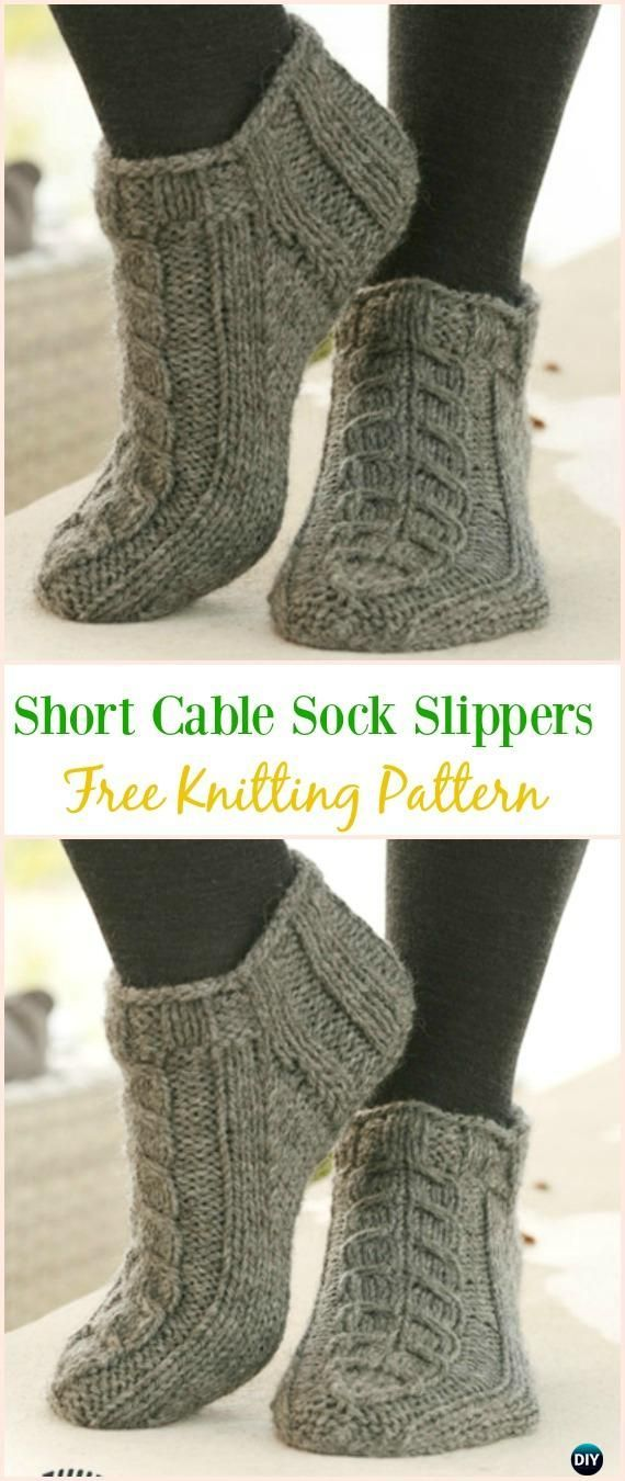 Short Cable Sock Slippers Free Knitting Pattern Kniting Adult