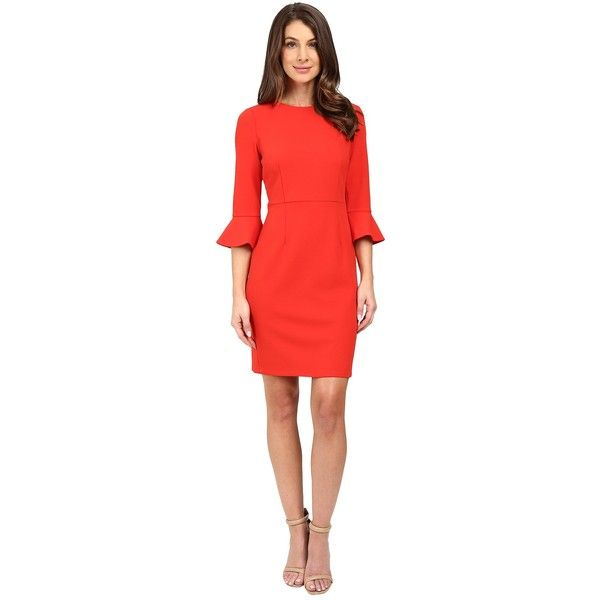 Donna Morgan 3/4 Bell Sleeve Sheath Dress (Tincture Red) Women's Dress (£105) ❤ liked on Polyvore featuring dresses, three quarter sleeve dress, red dress, red day dress, 3/4 length sleeve dresses and red three quarter sleeve dress