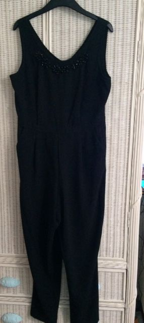 Florence and Fred black jumpsuit womens size 12 With Beading On Neckline BNWOT | eBay