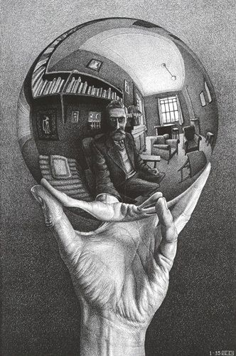 Hand with Sphere by M.C Escher #Escher #blackandwhite #modernart