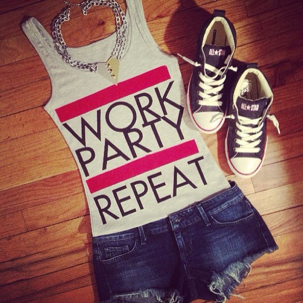 Work party repeat tee with dark denim shorts and high top converse