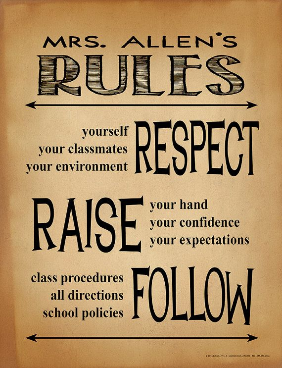 Classroom Rules Personalized Art Print. Teacher Gift for Elementary, Middle, or High School