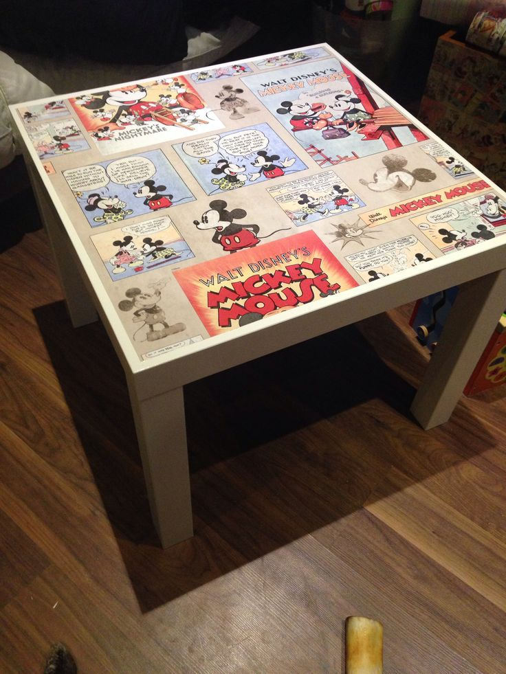 Mickey Mouse table. Should be easy to do with tables from Ikea and some Mod Podge.