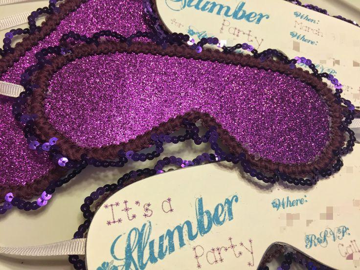 Super Easy and Super Cute sleep mask slumber party invitations! #birthday #diy #girl