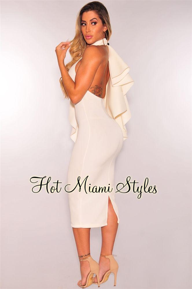 b79cedcc9c Off White Neoprene Flared Ruffle Dress in 2019 | neoprene | Dresses ...