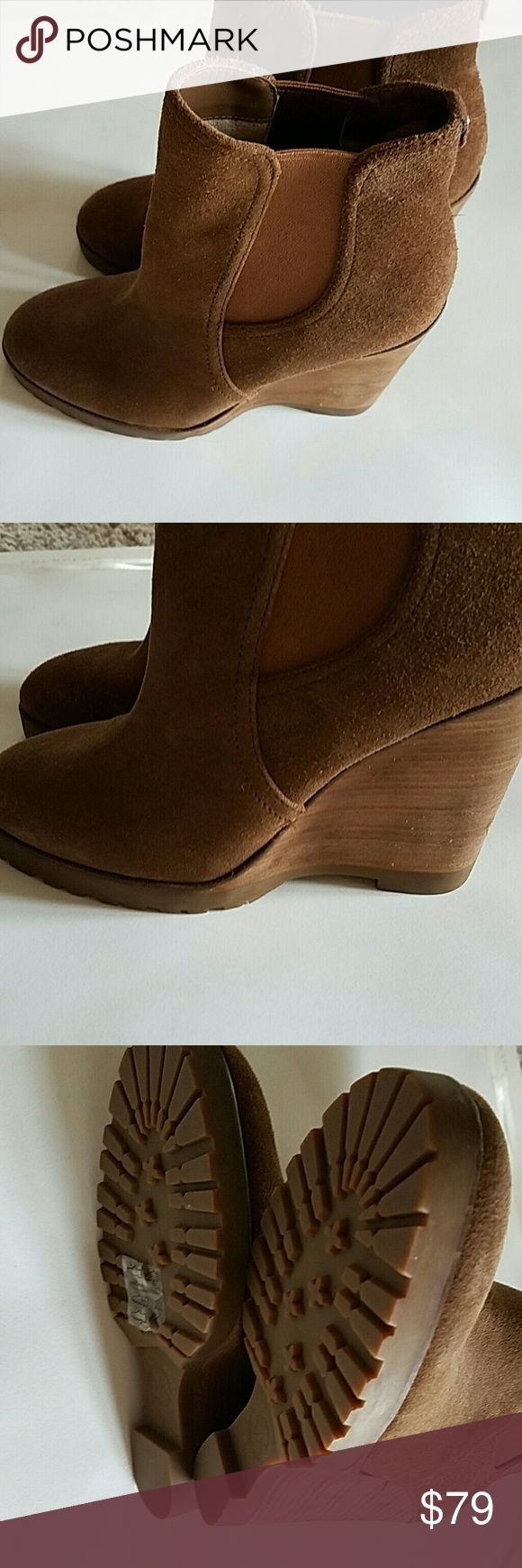 MK boots brown suede wedge Worn once perfect condition Michael Kors Shoes Ankle Boots & Booties