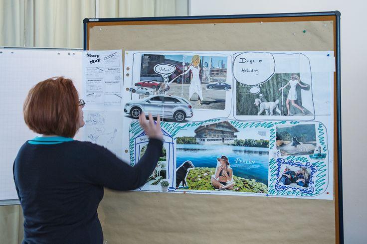 Ein im Workshop entstandenes Storyboard einer Arbeitsgruppe wird präsentiert.  #Storytelling #7Pointstory #Workshop