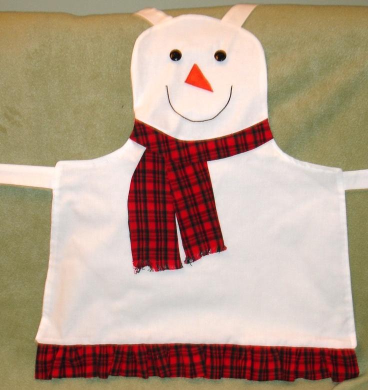 Oh so cute child's snowman apron