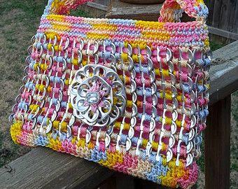 Crochet soda pop tab purse -colorful pastel colors