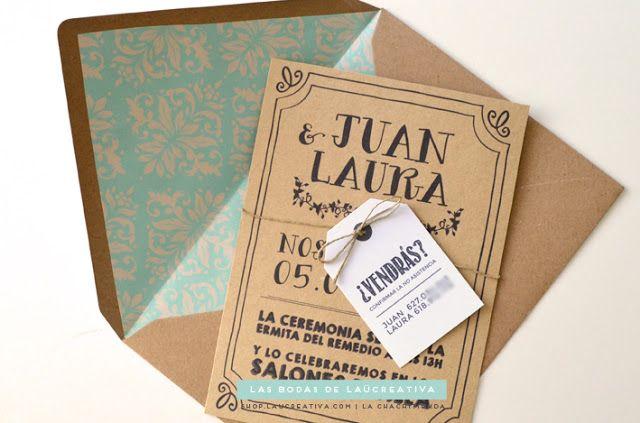 Invitaciones de boda: Invitación de boda en kraft, con sobre personalizado y etiqueta. http://www.elblogdelaucreativa.com/2015/06/invitaciones-boda-originales-kraft-dorado.html