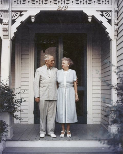 1953: President Harry S. Truman and Mrs. Bess Truman on the porch of their Independence, Missouri, Home.