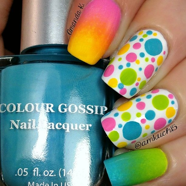 Gradient and dotticure in summer colors by @amkuch15