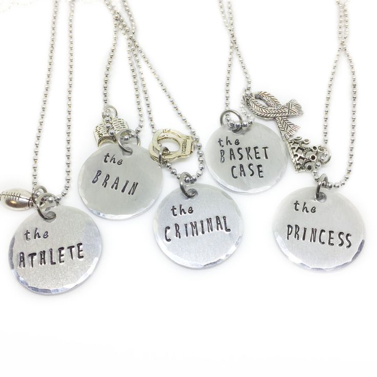 Retro 80s Breakfast Club Best Friend Necklace for 5, Friendship Jewelry, Movie Necklace, Gift for Best Friend, Brain Princess Athlete Criminal Princess by shopNerdtastic on Etsy