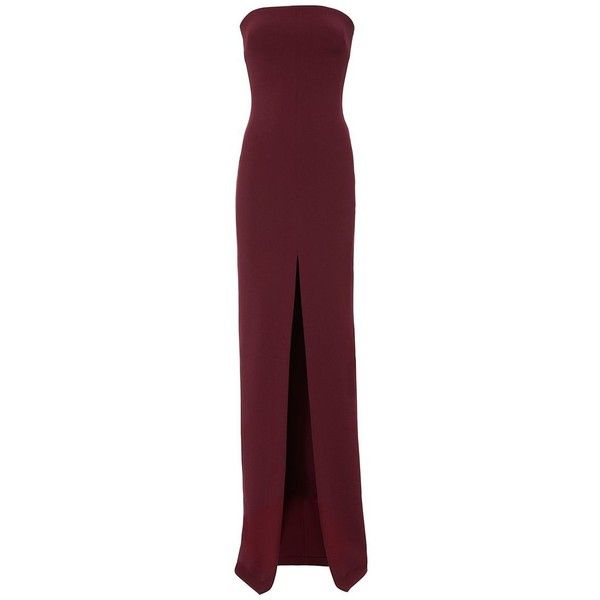 Solace London Women's Bysha Strapless Gown (5.473.090 IDR) ❤ liked on Polyvore featuring dresses, gowns, dark red, strapless dresses, purple evening dresses, purple ball gowns, purple evening gowns and formal gowns