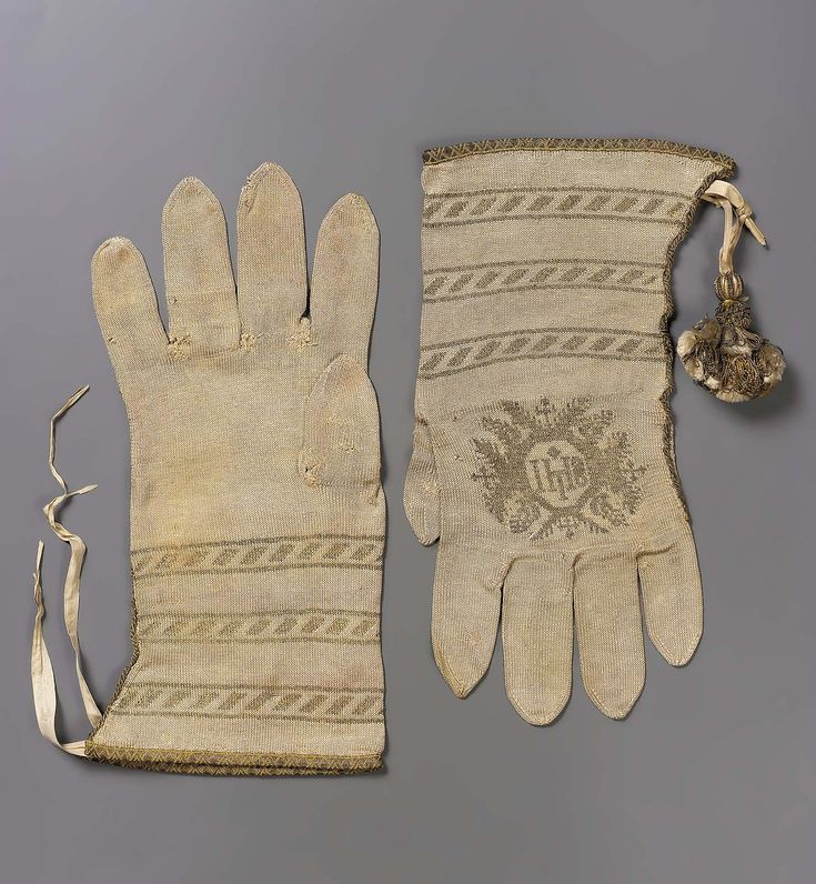 Pair of knitted ecclesiastical gloves | Spain | 16th century | medium not given | Museum of Fine Arts, Boston | Accession #: 38.1339a-b