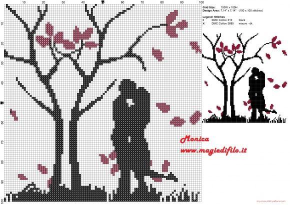 Couple in love free cross stitch pattern
