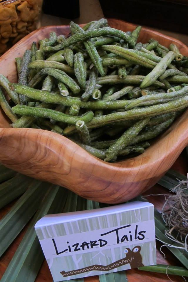 """Jude's Swamp / Bayou Theme Birthday Party food ideas recipes """"Lizard Tails"""" (the """"scoop it yourself"""" section at the Winn Dixie had these crunchy green beans I used for lizard tails)"""