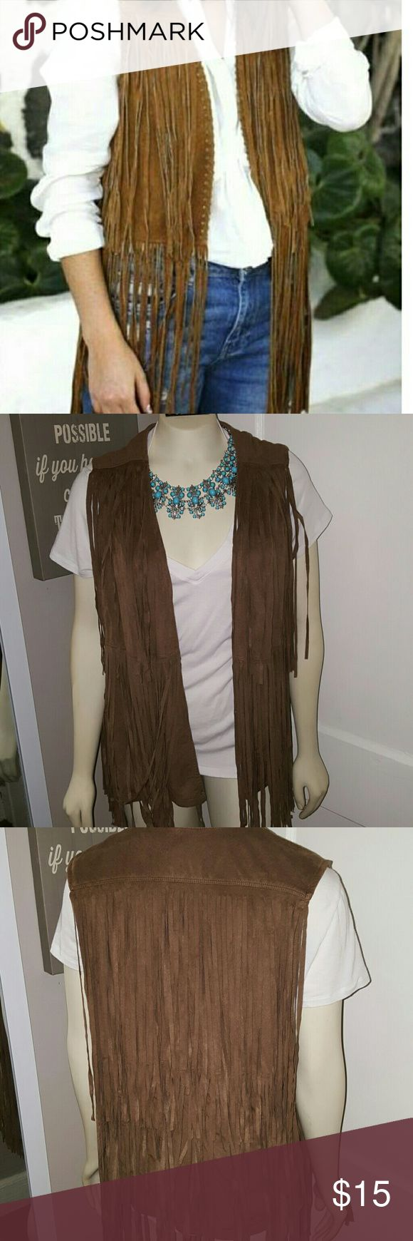 Mossimo Brown faux suede fringe vest Mossimo supply faux suede fringe vest Mossimo Supply Co. Jackets & Coats Vests