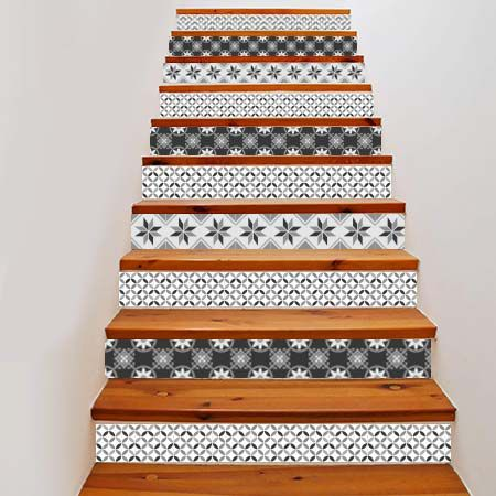 stickers escalier carreaux de ciment 3 stickers malin. Black Bedroom Furniture Sets. Home Design Ideas