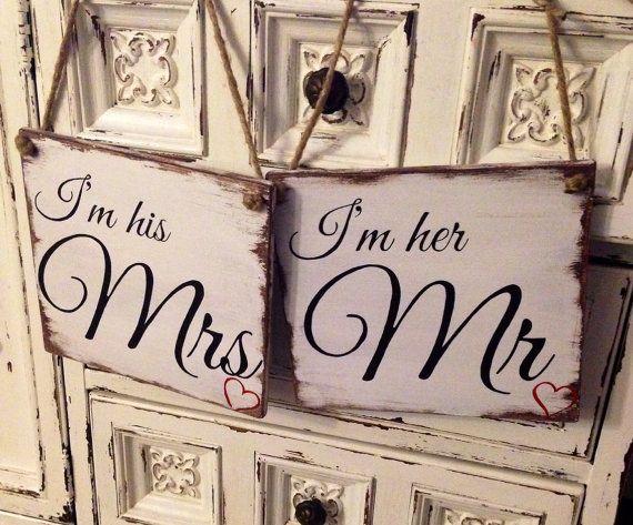 Mr & Mrs wood rustic wedding signs | Wedding signs | Pinterest ...