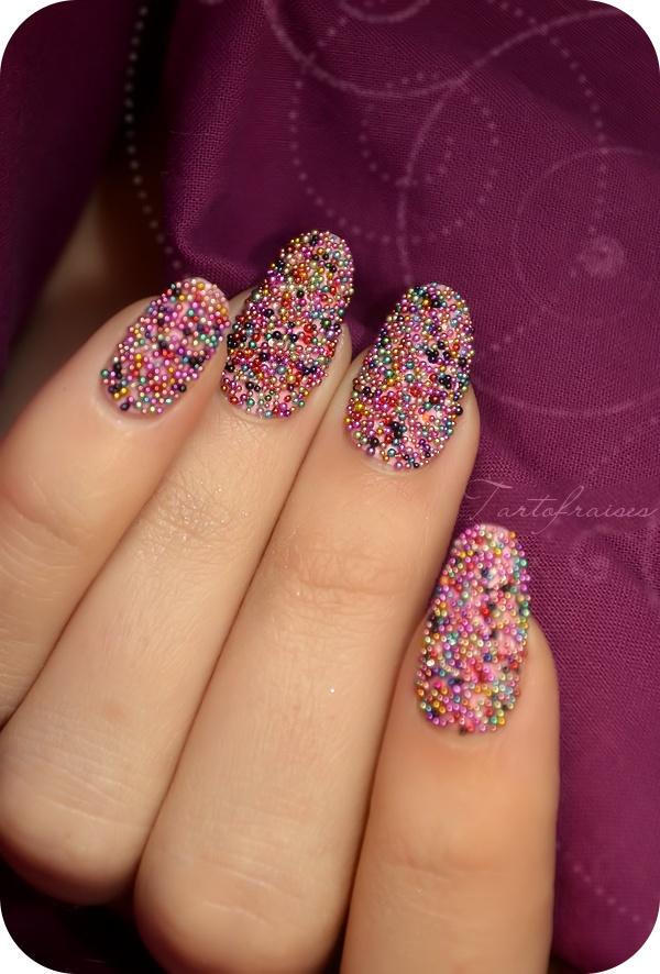 Nail art – Manucure «Caviar» colorée | Tartofraises