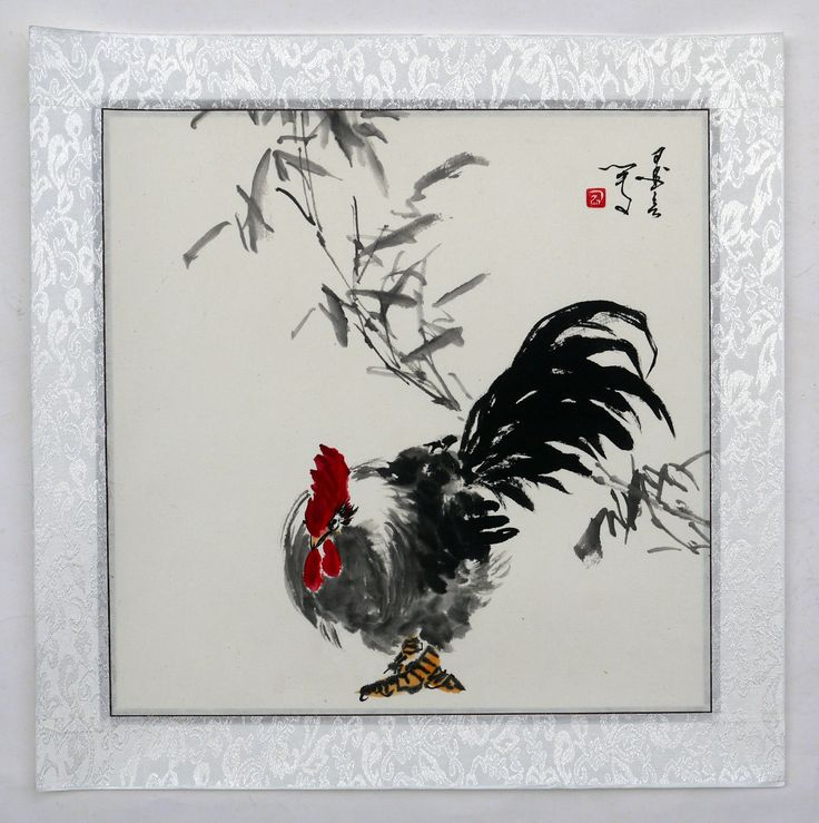 Asian rooster painting