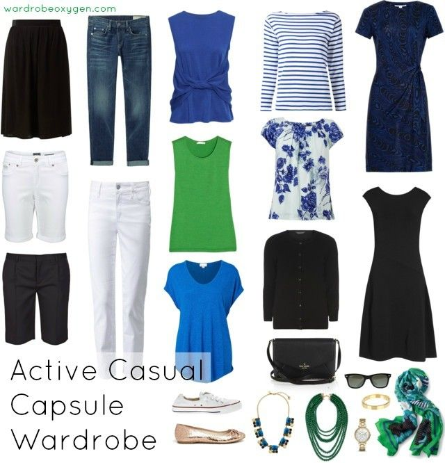 A capsule wardrobe for a retiring yet young at heart active over 60 year old woman. Looks for spring to stay active and casual yet stylish by @wardrobeoxygen