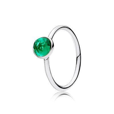 Srebrny pierścionek na maj, ciemnozielony kryształ - 191012NRG