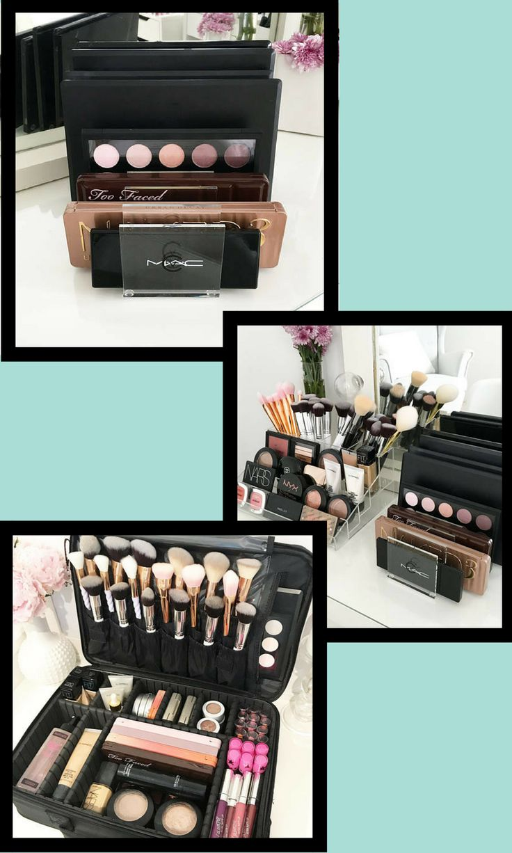 Store all your palettes and makeup with these acrylic makeup organizers and travel case!  #organization #makeup #affiliate #makeuporganization #makeuporganizercase