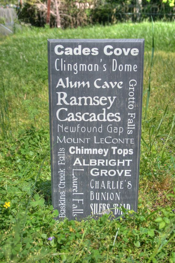 Smoky Mountains Hiking Trails Subway Style Typographical Art