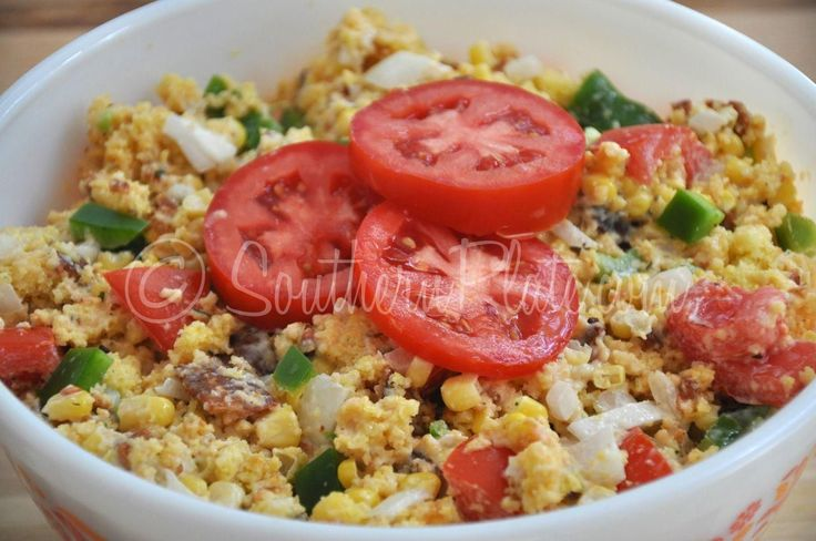 Cornbread Salad  recipe from Southern Plate. A garden fresh salad with southern charm. http://www.southernplate.com