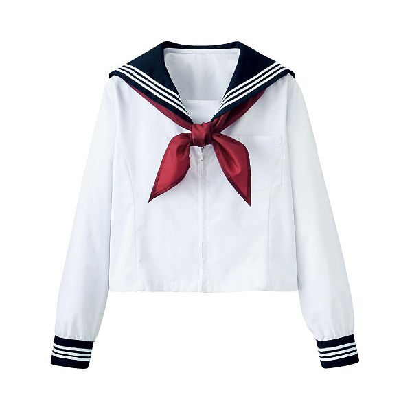 Passing-Fancy.com - Japanese School Sailor Uniforms (Serafuku) ❤ liked on Polyvore featuring tops, blouses, shirts, blusas, fancy shirts, fancy tops, sailor top, sailor shirt and shirt blouse