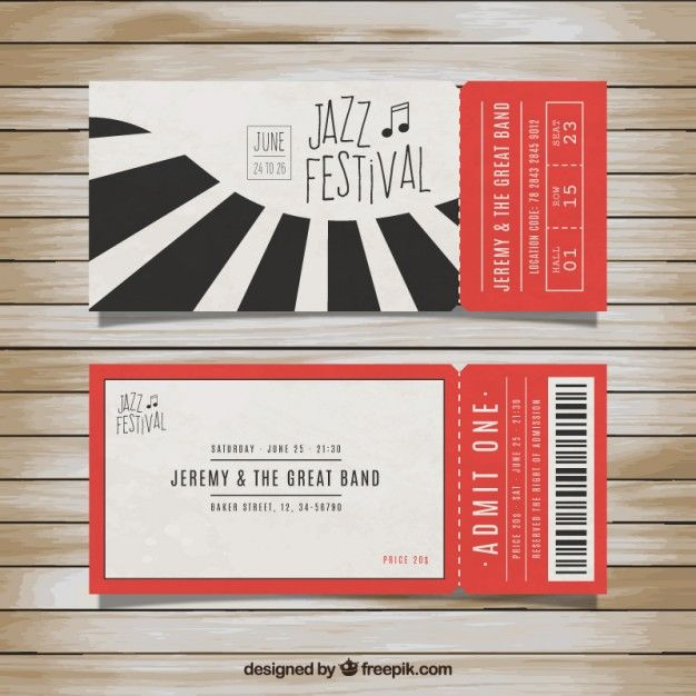 Tickets for jazz festival Free Vector