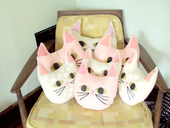 TUFT hand painted cream canvas cat pillow by Jessicaleighjones, $20.00
