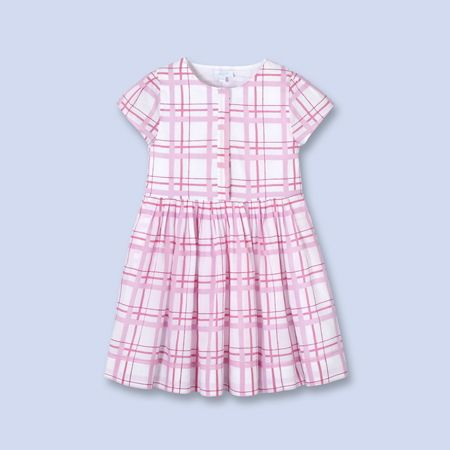 Plaid button front dress for boys and girls, girl