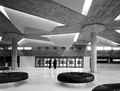 "furtho:  ""Queen Elizabeth Hall interior, South Bank, London, 1967 (via louiseandersonart)  """