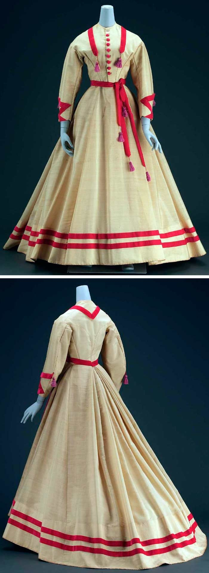 Dress, American, circa 1868. Alpaca, velvet ribbon, and covered buttons, silk tassels, cotton linen inner bodice, glazed cotton lining, and metal closure. Skirt fastened at left front with most of fullness in inverted box pleats in back, longer in back for train. Trimmed around neck, sleeves, waist, and bottom of skirt with bands of pinkish-red velvet ribbon. Purple silk tassels on sleeves, front, and waistband. Via Museum of Fine Arts, Boston.