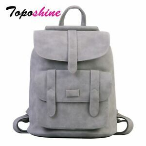 Photo of Details about Amazing Fashion Backpacks Solid Vintage Girls School Bags PU Leather for Women