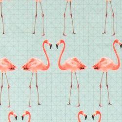 Bomull aqua m flamingo