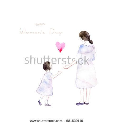 Mother and daughter holding hands.Mother's day greeting card. @knyshksenya #illustration #illustrator #ksenyaknysh #watercolor #girl #flowers #nature #illustration #art #mother #child