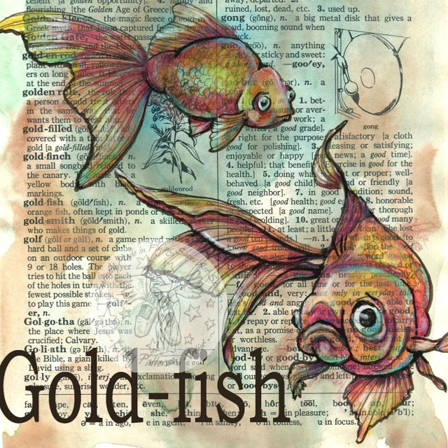 Goldfish mixed media drawing on distressed, dictionary page - flying shoes art studio